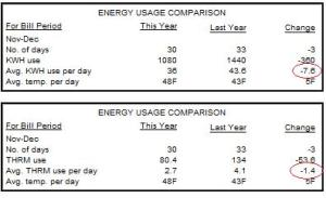 December electricity and gas usage