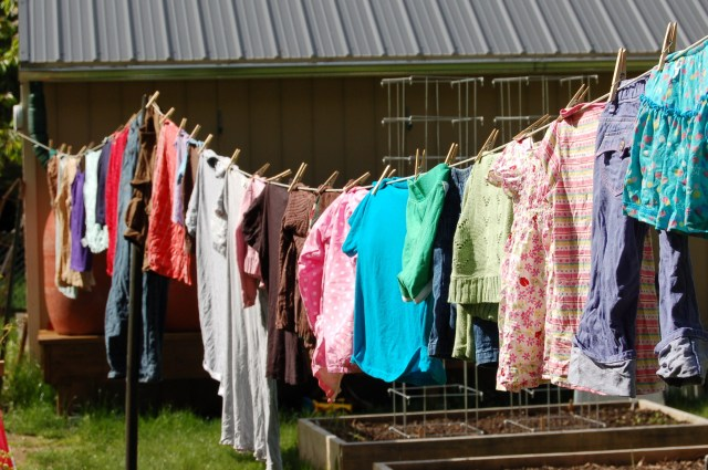 Clothesline in use