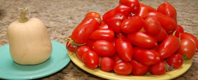 Tomatoes and mini butternut squash