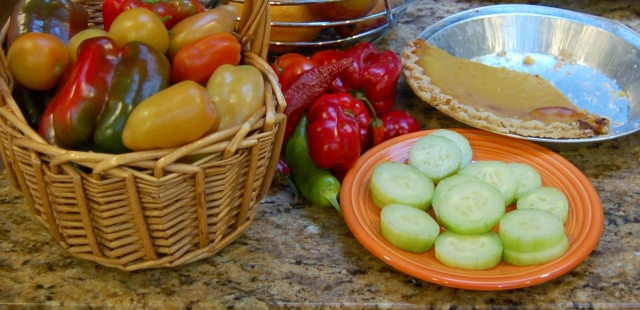 Tomatoes, peppers, cukes and pie