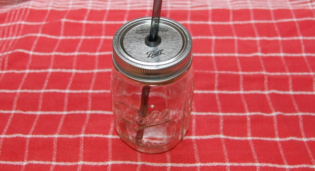 DIY lidded mason jar with straw